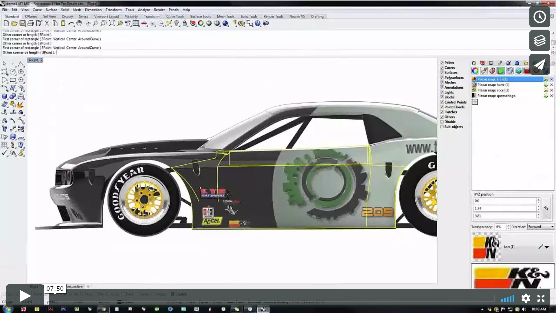 Use the new advanced decal engine in Rhino 6
