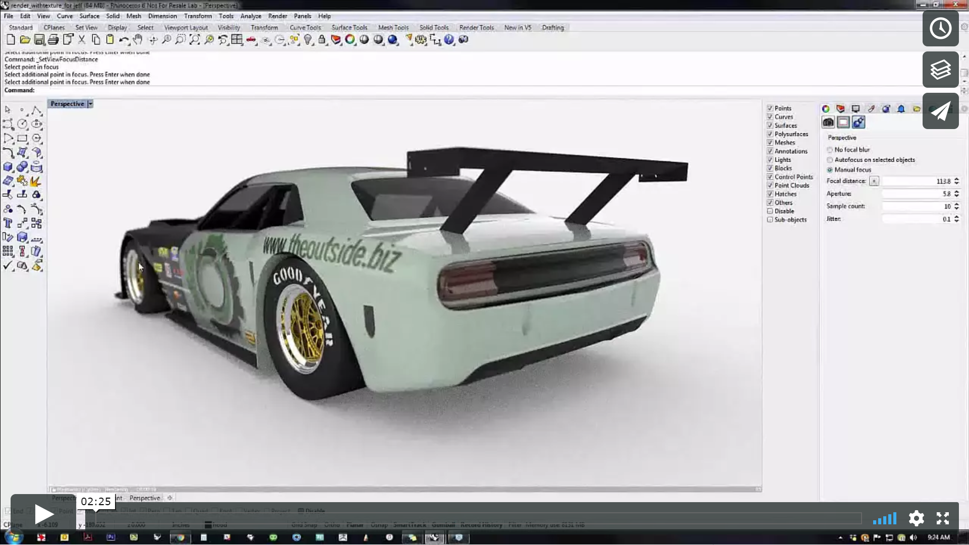 Focal blur in the new advanced raytrace engine in Rhino 6