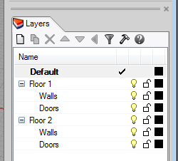 """Here are two sublayers named """"Walls"""" and two sublayers named """"Doors"""""""